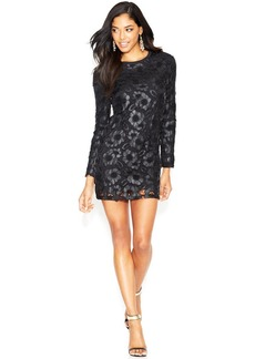 French Connection Faux-Leather and Lace-Overlay Keyhole Dress