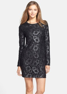 French Connection Faux Leather Lace Shift Dress