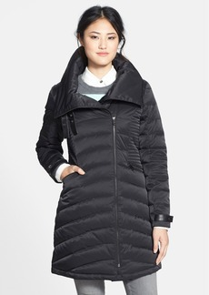 French Connection Faux Leather Trim Asymmetrical Down Coat (Online Only)