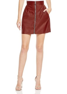 FRENCH CONNECTION Faux Leather Zip Front Skirt