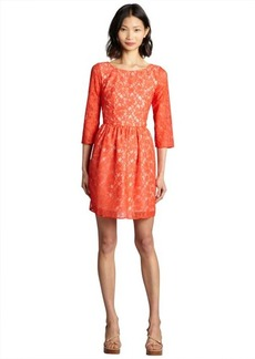 French Connection favella red and nude stretch lace 'Lizzie' three quarter flare dress