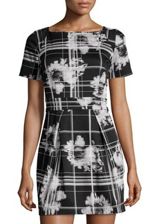 French Connection Floral & Plaid Poplin A-Line Dress