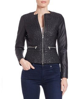 FRENCH CONNECTION Floral-Effect Quilted Faux Leather Jacket