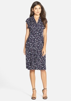 French Connection Floral Print Jersey Faux Wrap Dress
