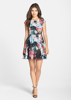French Connection 'Floral Reef' Print Chiffon Fit & Flare Dress