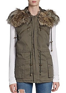 French Connection Freda Faux Fur Sleeveless Parka