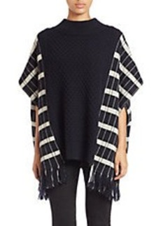 FRENCH CONNECTION Fringed Checked Poncho