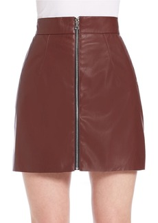 FRENCH CONNECTION Front-Zip Faux Leather Mini Skirt