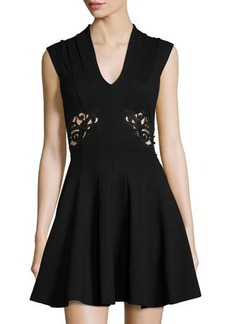 French Connection Ft Marie Cap-Sleeve V-Neck Dress w/Embroidered Waist