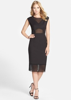 French Connection 'Glass' Mesh Inset Sheath Dress
