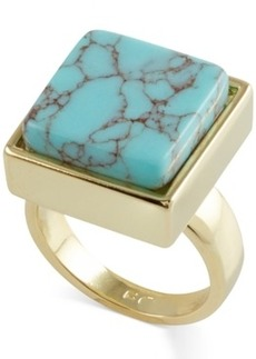 French Connection Gold-Tone Semiprecious Square Stone Cocktail Ring