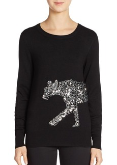 French Connection Graphic Sequined Cat Sweater