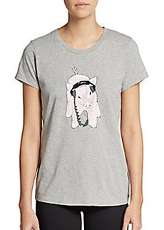 French Connection Graphic Sequined Pig Tee