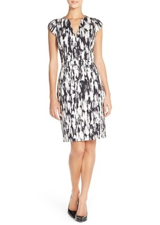 French Connection Graphic Stretch Cotton Sheath Dress
