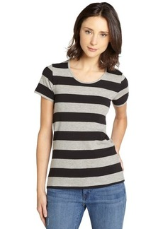 French Connection grey and black striped stretch cotton open back t-shirt