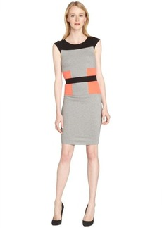 French Connection grey and coral colorblock body con dress