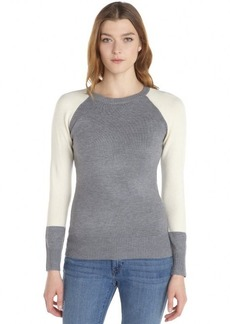 French Connection grey and cream stretch knit colorblock crewneck sweater