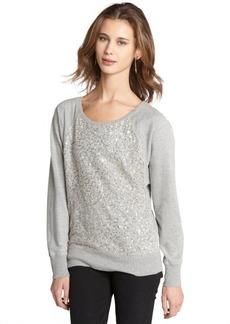 French Connection grey cotton blend sequin appliqued 'Ellen' sweatshirt