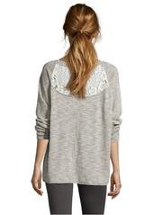 French Connection grey linen-cotton blend 'Alex' lace trim sweater