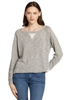 French Connection grey linen-cotton blend 'Alex' lace trim sweater