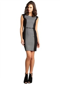 French Connection grey melange and black colorblock belted 'Madame Mary' stretch knit dress