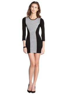 French Connection grey melange and black colorblock sweater dress