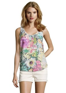 French Connection grey stretch 'Enchanted Garden' multi-color floral print sleeveless top
