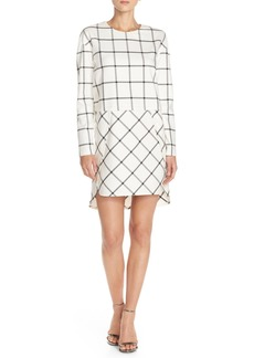 French Connection Grid Print Long Sleeve Dress