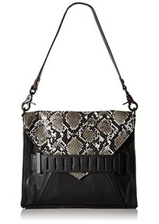 French Connection Harper Convertible Clutch, Black/Black White Snake, One Size