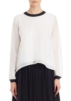 FRENCH CONNECTION Hi-Lo Contrast-Trimmed Blouse
