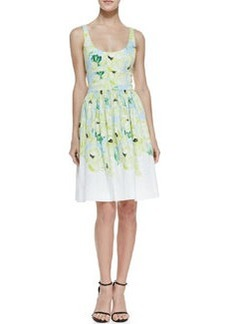 French Connection Holiday Poppy Print Fit-And-Flare Dress, Ice Cooler