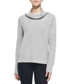 French Connection Honeycomb-Knit Mock Turtleneck Sweater, Light Gray