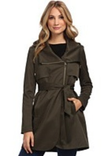 French Connection Hooded Asymmetrical Tulip Zip Coat w/ Belt
