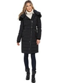 French Connection Hooded Puffer Coat w/ Belt & Snaps