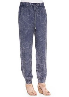 French Connection Industrial Acid Wash Draped Trousers, Siberian Shadow