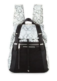 French Connection Indy Marble-Print Nylon Backpack