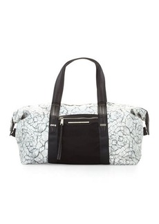 French Connection Indy Marble-Print Nylon Duffle Bag
