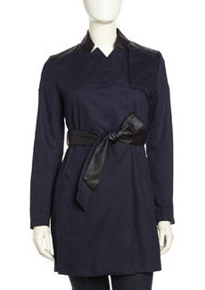 French Connection Inverted Collar Faux-Leather Trimmed Trench Coat, Navy