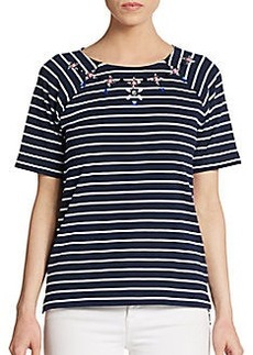 French Connection Jeweled Stripe Top