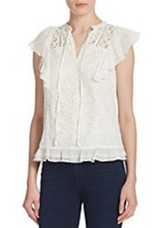 FRENCH CONNECTION Lace Flutter Top