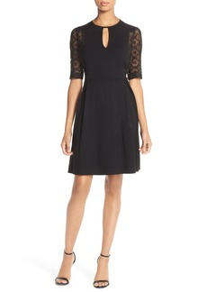 French Connection Lace Inset Knit Fit & Flare Dress