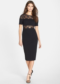 French Connection Lace Panel Midi Body-Con Dress