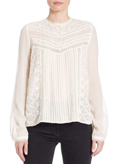 FRENCH CONNECTION Lace Plisse Blouse