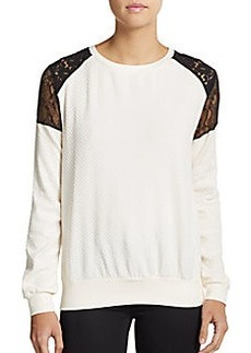 French Connection Lace Shoulder Honeycomb Jacquard Top