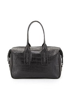 French Connection Lady Croc-Embossed Faux-Leather Satchel Bag, Black