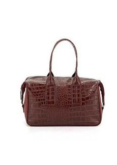 French Connection Lady Croc-Embossed Faux-Leather Satchel Bag, Burgundy