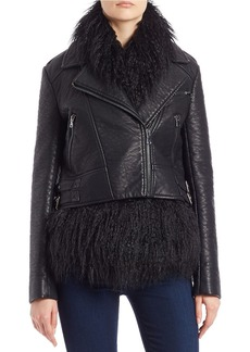 FRENCH CONNECTION Leather and Faux Fur Moto Jacket