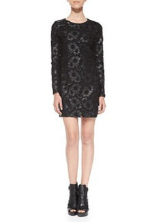 French Connection Leather Daisy-Lace Sheath Dress, Black
