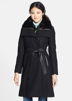French Connection Leather Trim Long Coat with Removable Faux Fur Collar