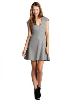 French Connection light grey melange 'Luna' wool blended flared stretch dress